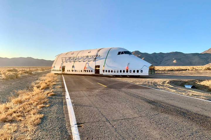 Nevada Highway Patrol The truck carrying the jet piece travels between 40 and 60 mph and is bei ...