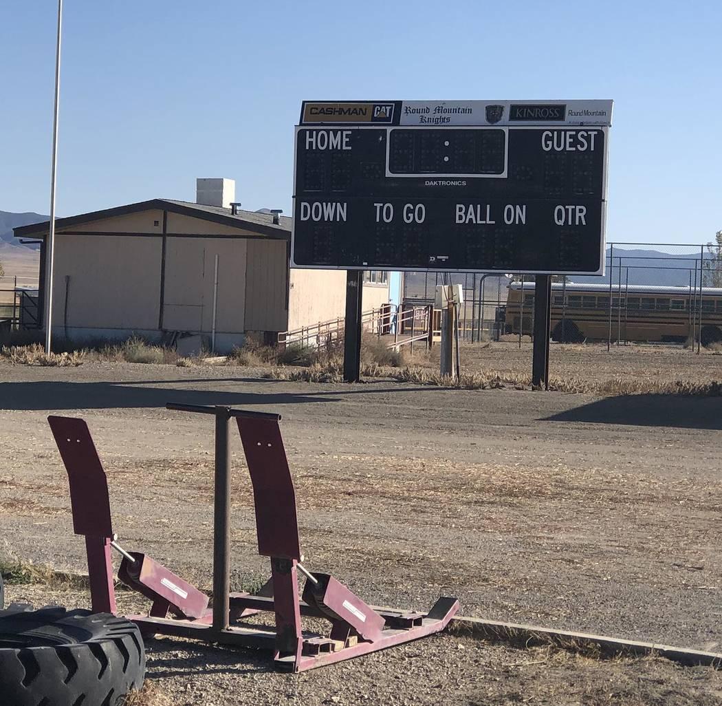 Tom Rysinski/Times-Bonanza & Goldfield News The Round Mountain scoreboard stands dark, symboliz ...