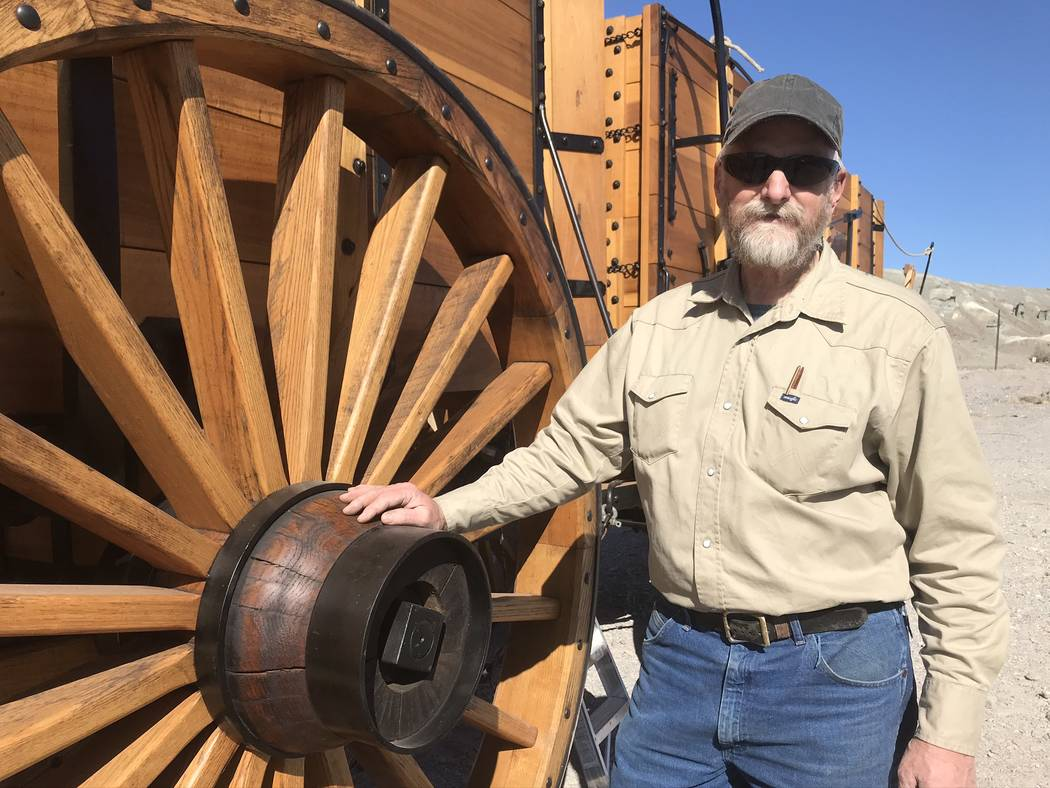Jeffrey Meehan/Pahrump Valley Times Wagonmaker Dave Engel stands in front of one of two wagons ...