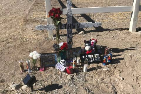 Jeffrey Meehan/Pahrump Valley Times A roadside memorial for Ethan Osterman, a 15-year-old Pahr ...