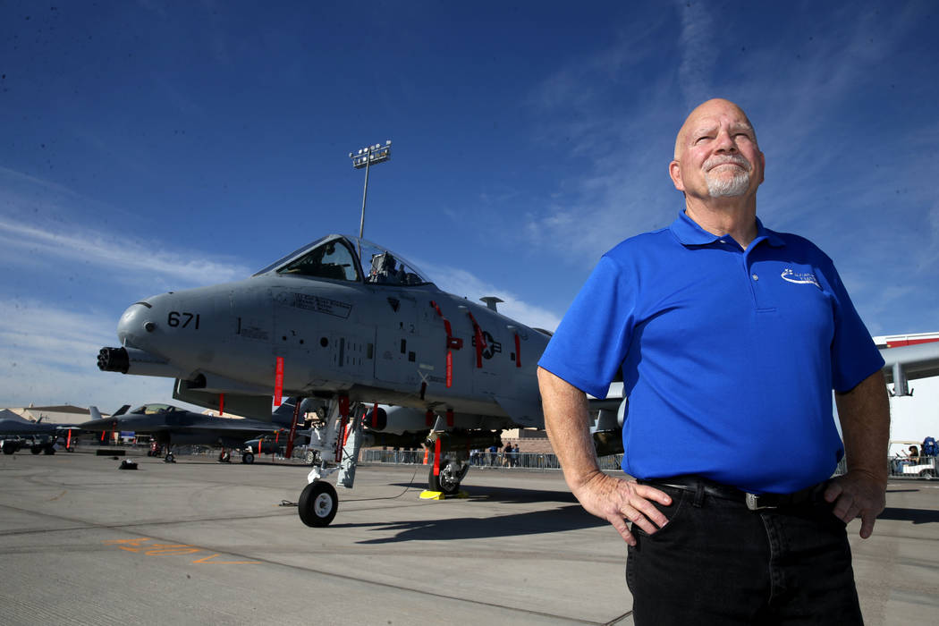 Director of Aviation Nation retired Maj. Bob Jones with an A10 Warthog at the air show preview ...