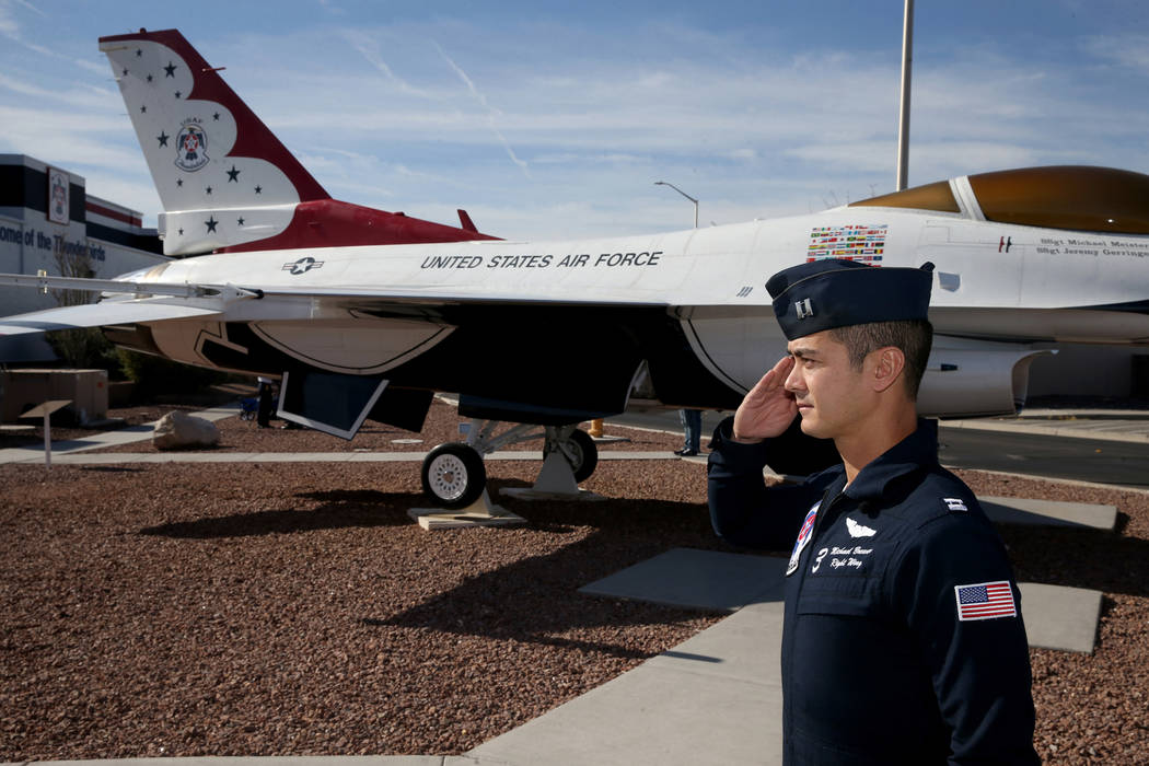 Thunderbird Capt. Michael Brewer, right wing number 3, at Aviation Nation 2019 Air Show preview ...