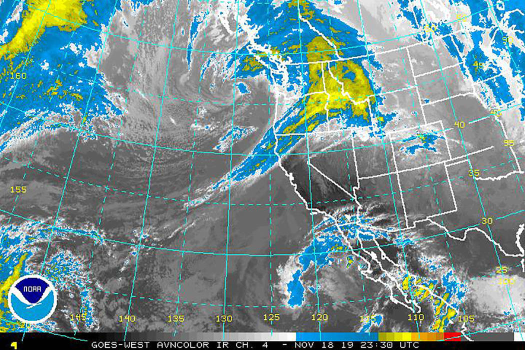 National Weather Service A look at the storm as it was developing earlier this week as shown in ...