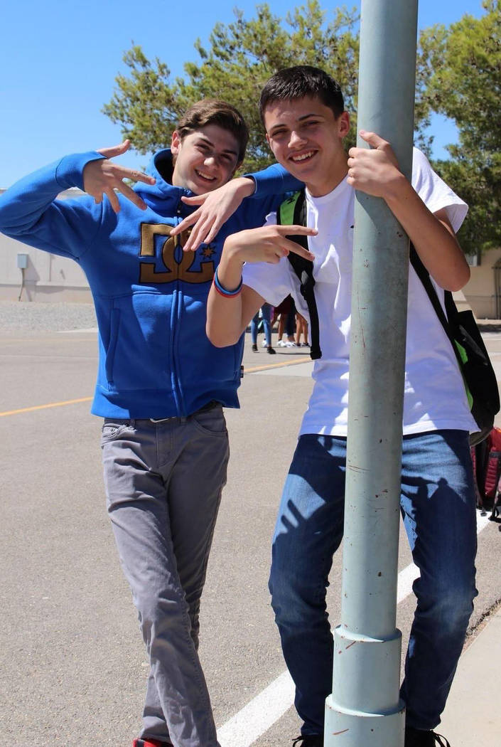 Photo courtesy of Julie Carlo Ethan Osterman, 15, of Pahrump is shown on the left in this photo ...