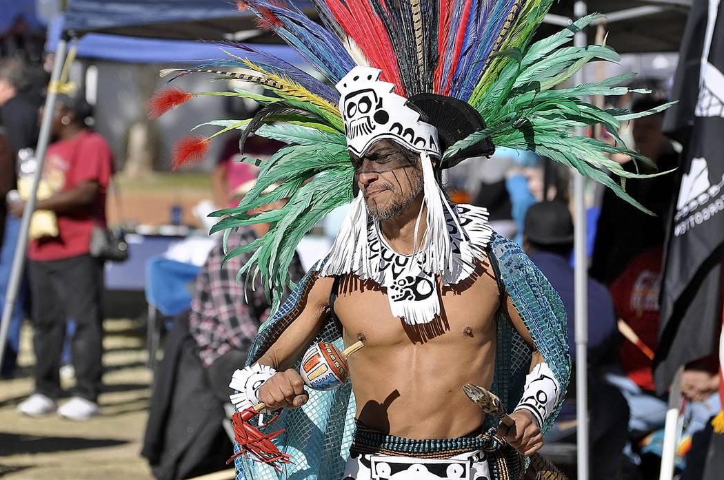 Horace Langford Jr./Pahrump Valley Times An Aztec dancer performs an ancient ritual dance duri ...