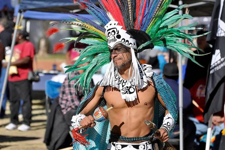 Horace Langford Jr./Pahrump Valley Times An Aztec dancer performs an ancient ritual dance duri ...
