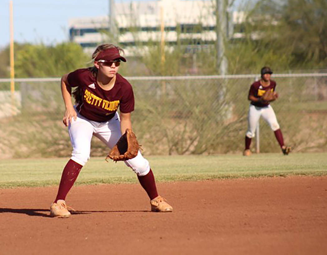Cassondra Lauver/Special to the Pahrump Valley Times Skyler Lauver, left, at shortstop for the ...