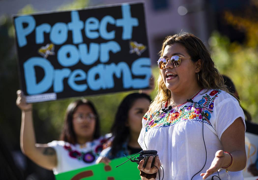 Chase Stevens/Las Vegas Review-Journal UNLV student Joseline Cuevas speaks during a rally in su ...