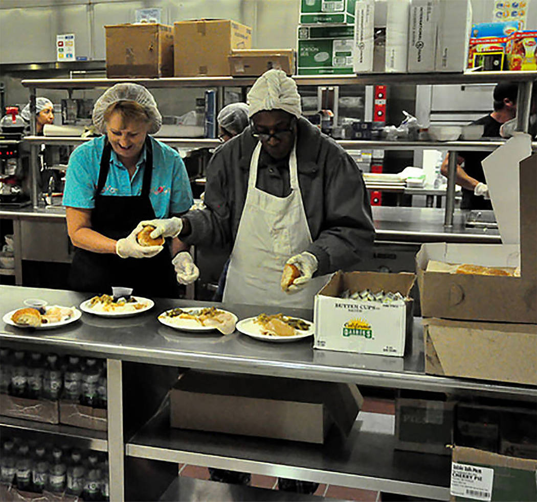 Selwyn Harris/Pahrump Valley Times Volunteers at last year's Community Thanksgiving Dinner are ...