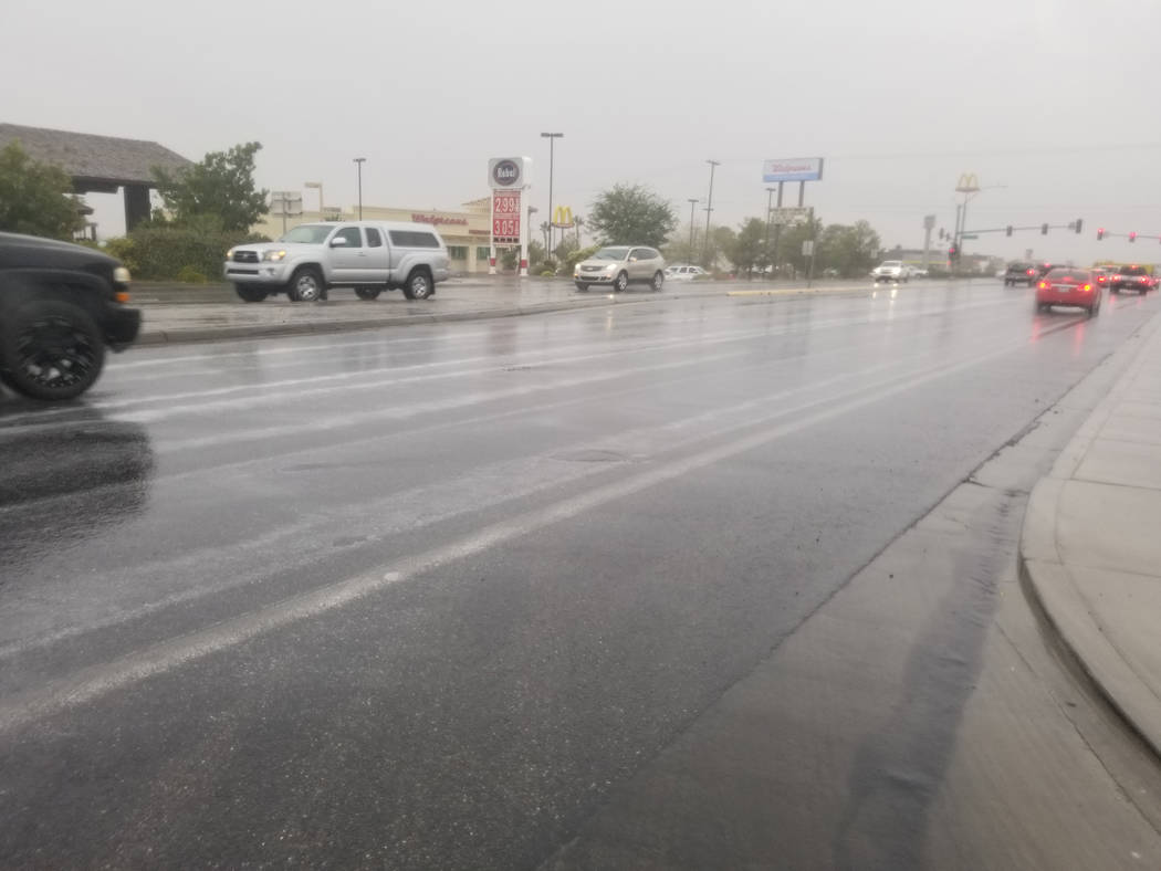 David Jacobs/Pahrump Valley Times Rain slickened Pahrump area roads on Wednesday, Nov. 20 as a ...