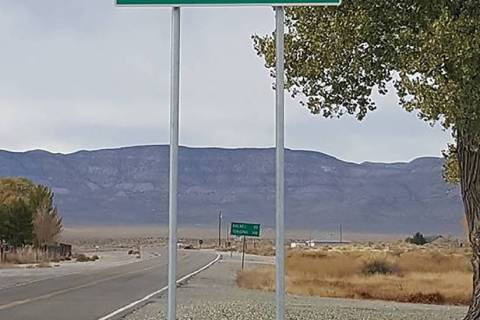 Nevada Department of Transportation The newly fabricated 3-foot-high by 8-foot-long sign featur ...