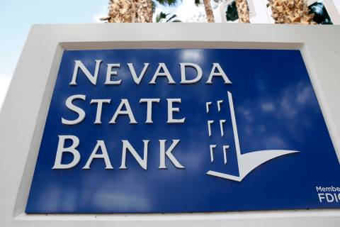 Las Vegas Review-Journal A Nevada State Bank sign outside of the bank which is located at 750 E ...