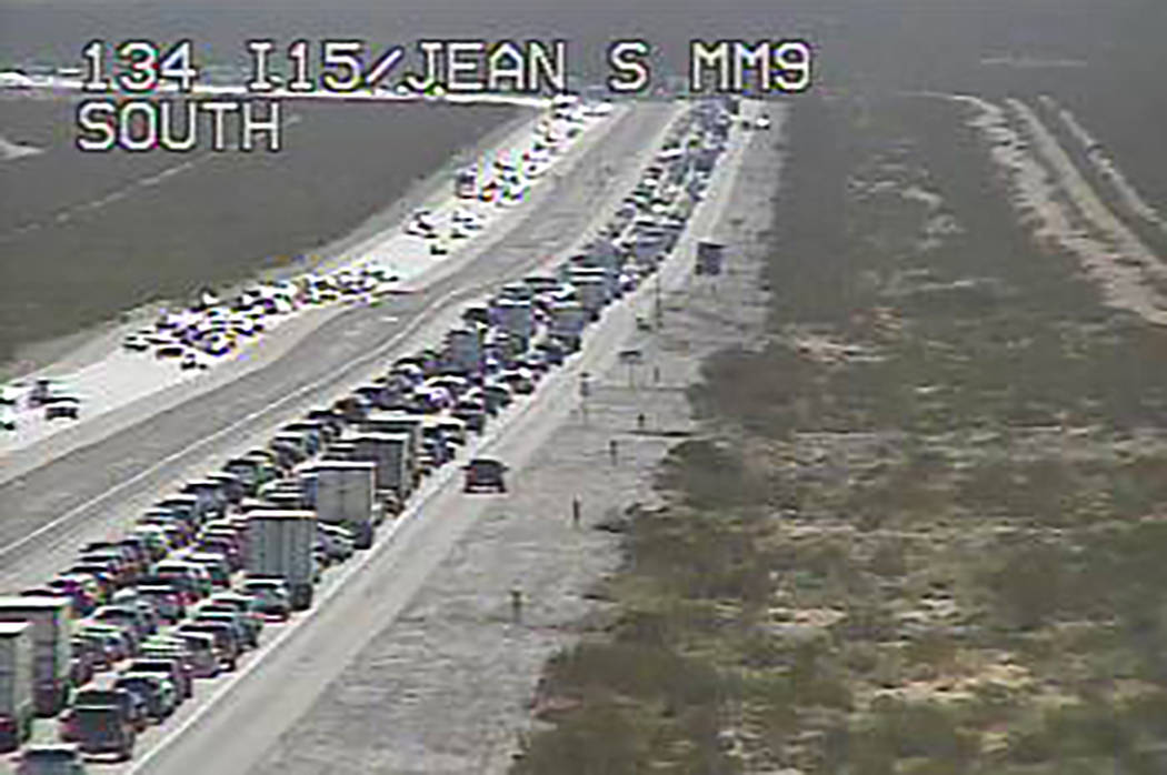 State of Nevada traffic cam/file Drivers heading toward California on Interstate 15 and experie ...