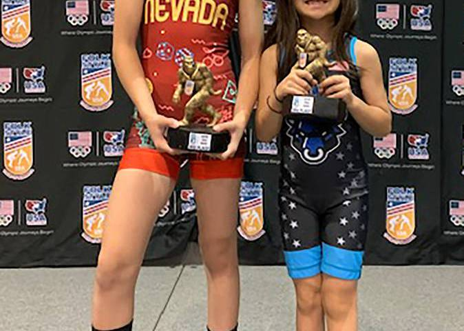 Special to the Pahrump Valley Times Mika, left, and Suri Yoffee show off their third-place trop ...