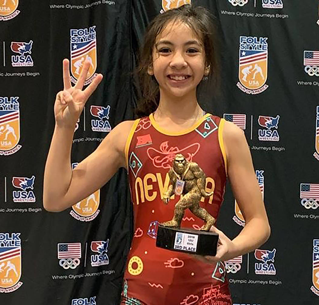 Special to the Pahrump Valley Times Mika Yoffee, 11, celebrates her third-place finish in the G ...