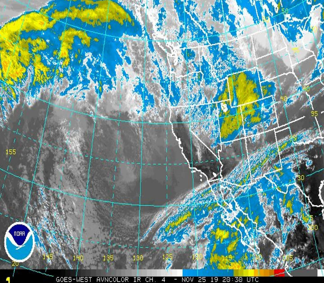National Weather Service A look at the storm this week as it was poised to make its way to Neva ...