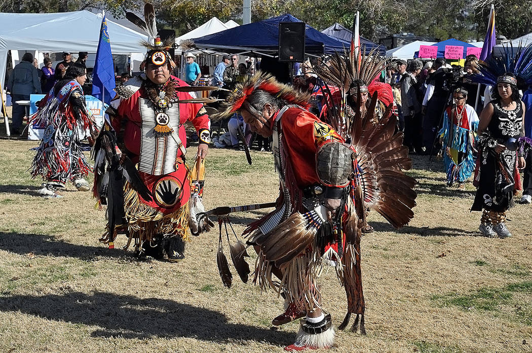 Horace Langford Jr./Pahrump Valley Times A Native American performs an inter-tribal dance du ...