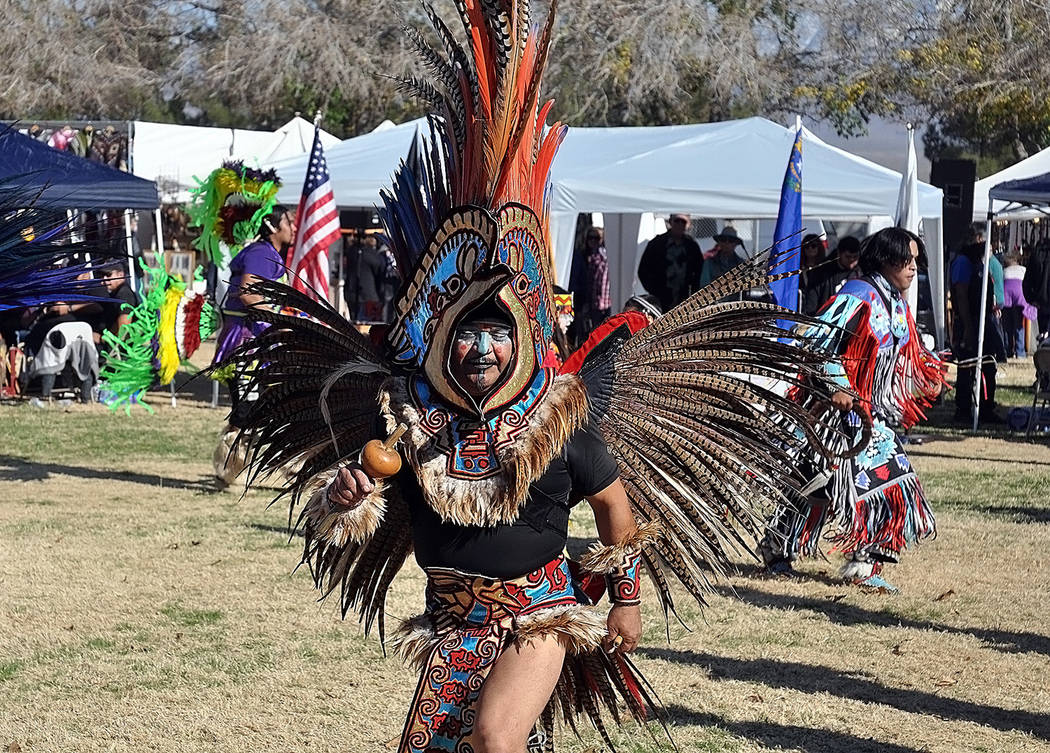 Horace Langford Jr./Pahrump Valley Times An Aztec dancer is shown performing at the Pahrump In ...
