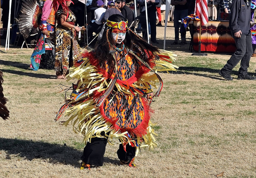 Horace Langford Jr./Pahrump Valley Times A young dancer is shown at the Pahrump Inter-tribal So ...