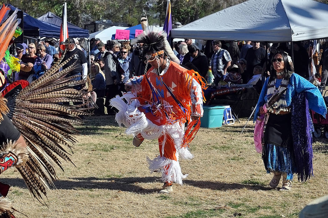 Horace Langford Jr./Pahrump Valley Times An opening dance at the Pahrump Inter-tribal Social P ...