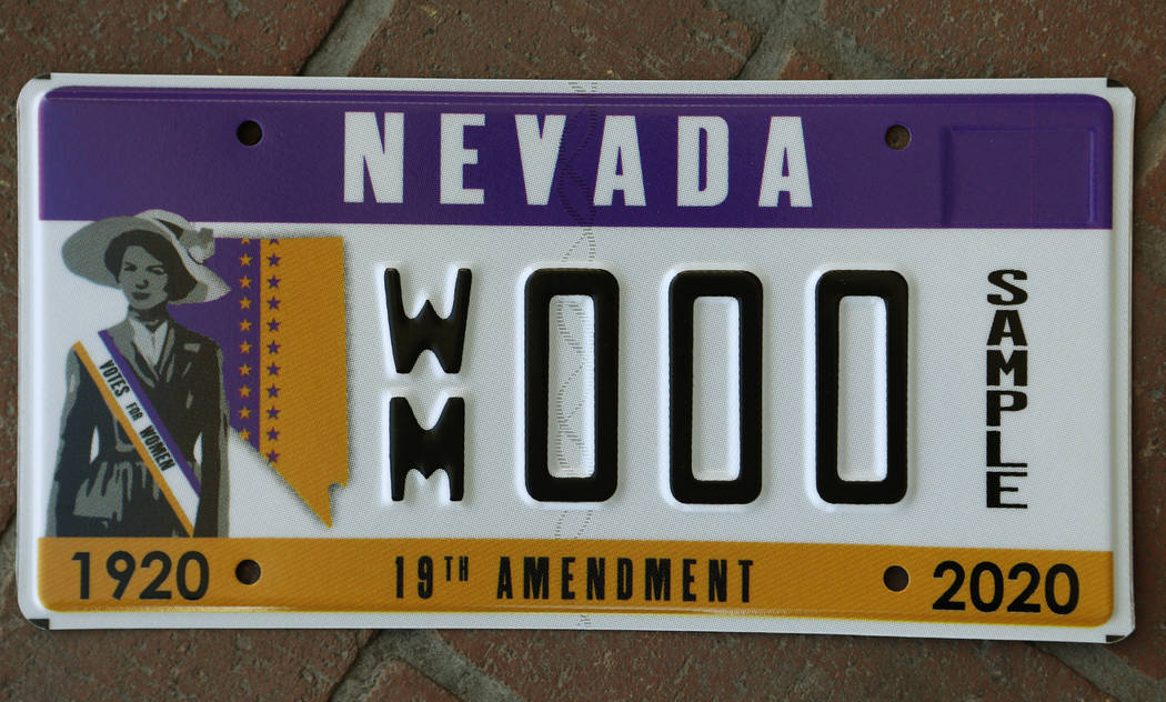 The Nevada Commission for Women unveiled a new Nevada license plate honoring the 100-year anniv ...