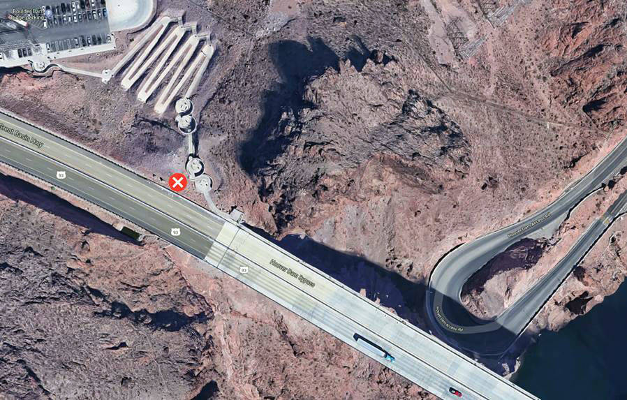 """Nevada Department of Transportation The """"x"""" shows the location of the new welcome to Nevada mon ..."""
