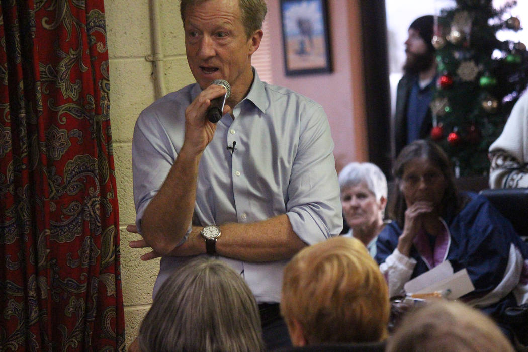 Jeffrey Meehan/Pahrump Valley Times Tom Steyer speaks at Johnny's Mexican Restaurant on Sunday, ...
