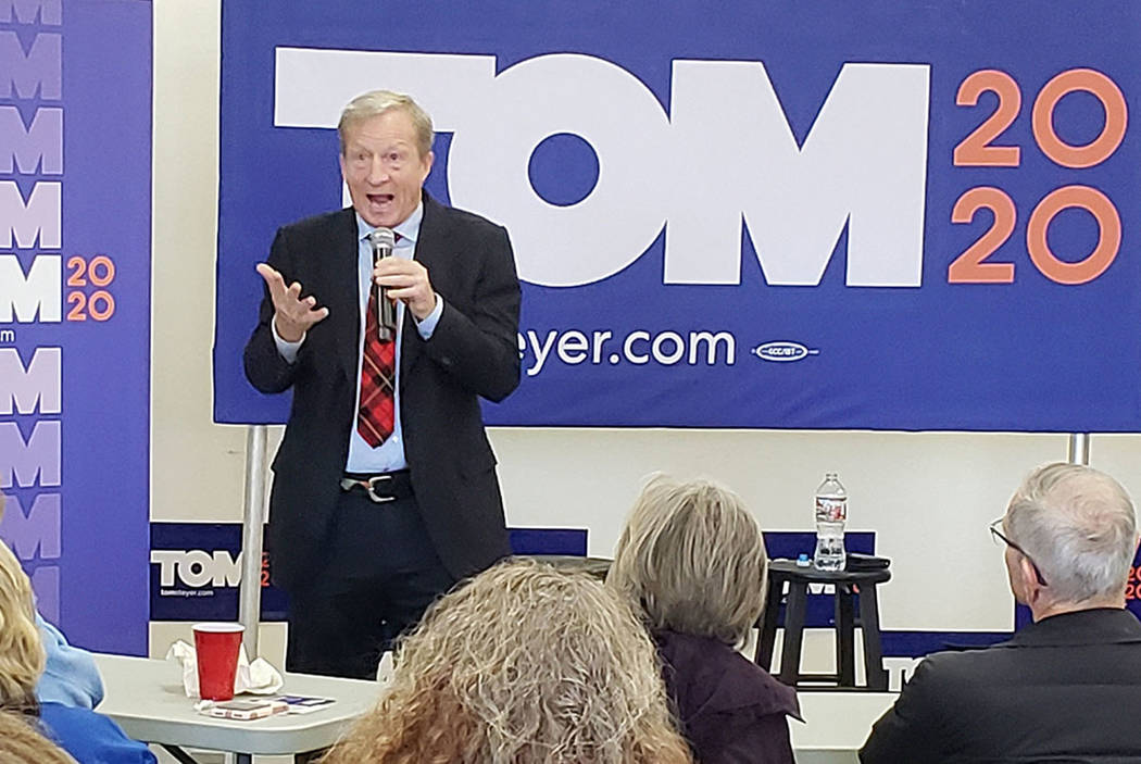 Rory Appleton/Las Vegas Review Journal Democratic presidential candidate Tom Steyer answers a q ...