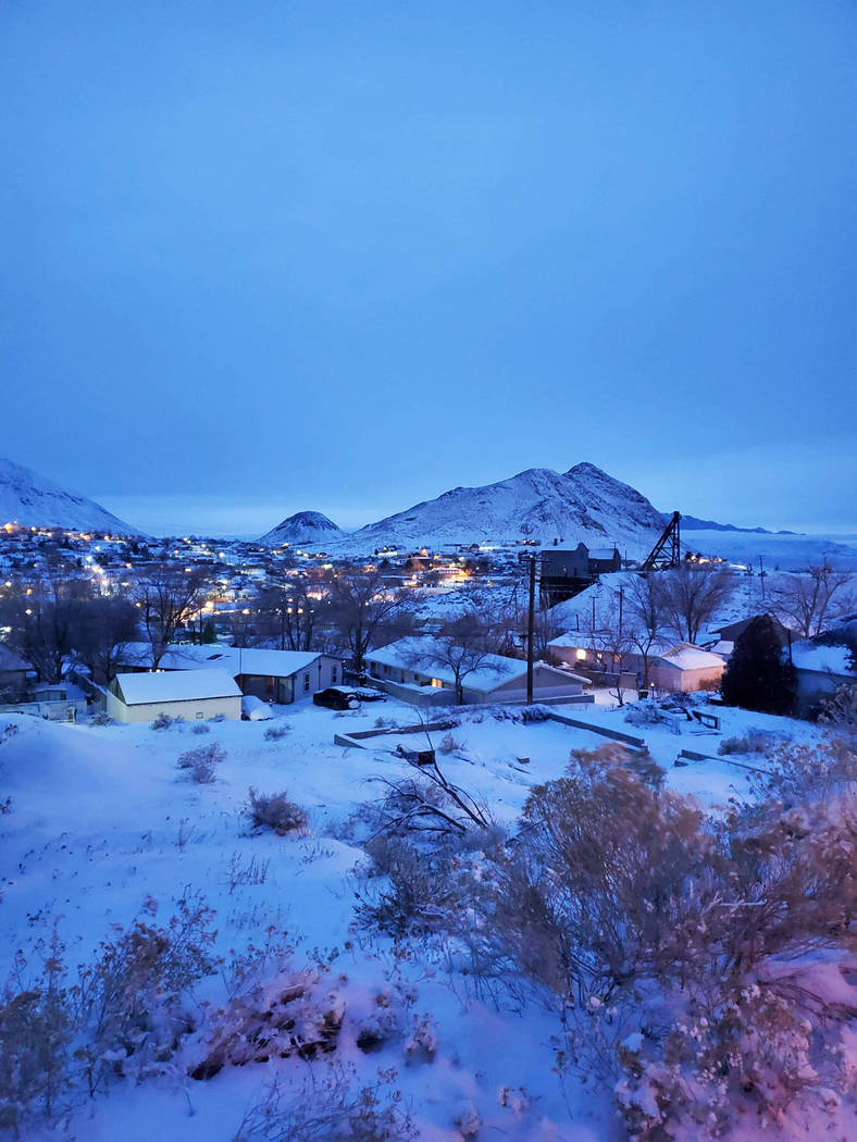 Grace Gearhart/Special to the Pahrump Valley Times Snow fell throughout the Tonopah region as t ...