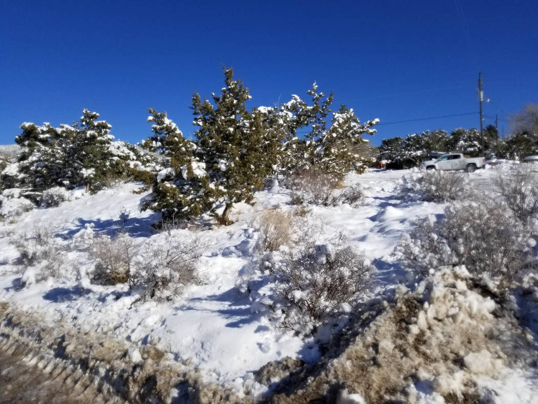 David Jacobs/Pahrump Valley Times At least 4 inches of snow was recorded in the Mountain Spring ...