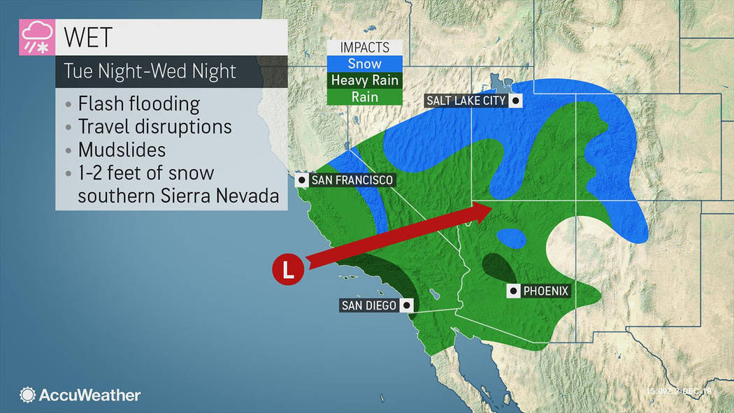 Courtesy of AccuWeather A look at the storm as it approached the region as shown in a graphic.