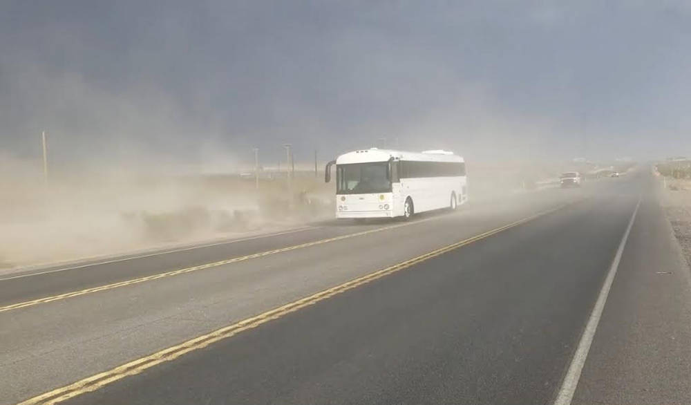 David Jacobs/Pahrump Valley Times This file photo shows dust filling the air in the Pahrump Val ...