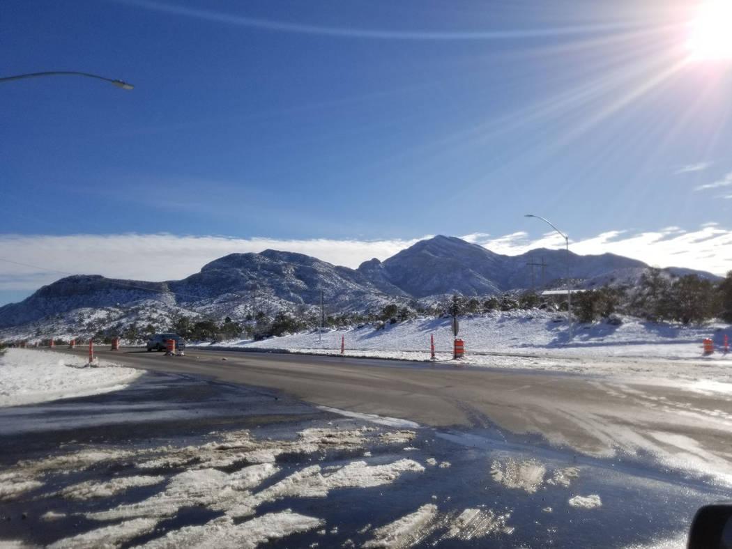 David Jacobs/Pahrump Valley Times Sun shines on the snow-covered mountains on the Mountain Spri ...