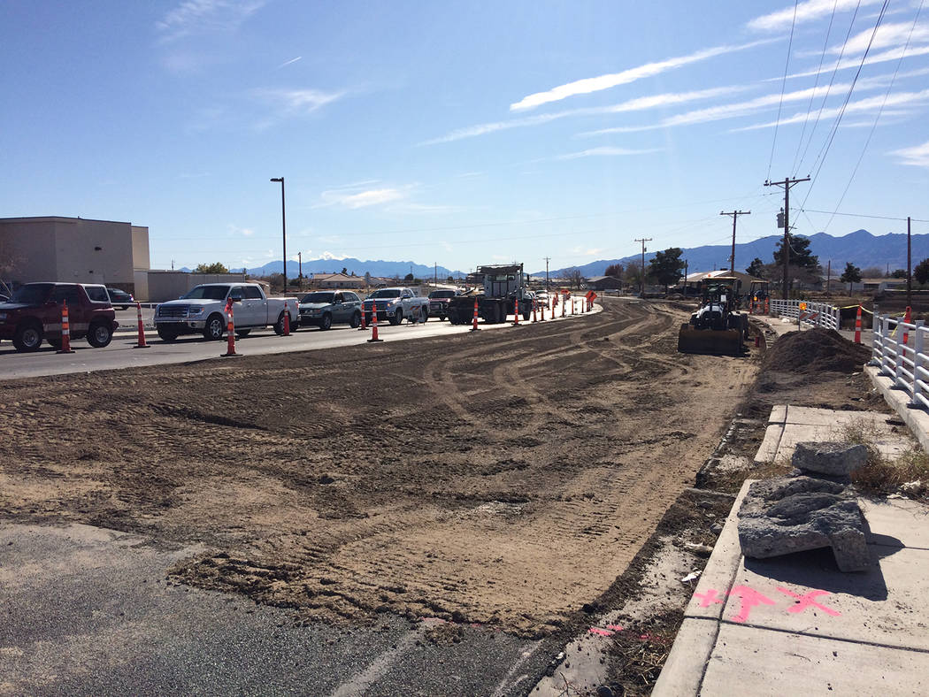 Robin Hebrock/Pahrump Valley Times A large section of Homestead Road at Highway 160 is currentl ...