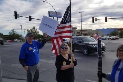 David Jacobs/Pahrump Valley Times At the corner of Nevada Highways 160 and 372, protesters gath ...