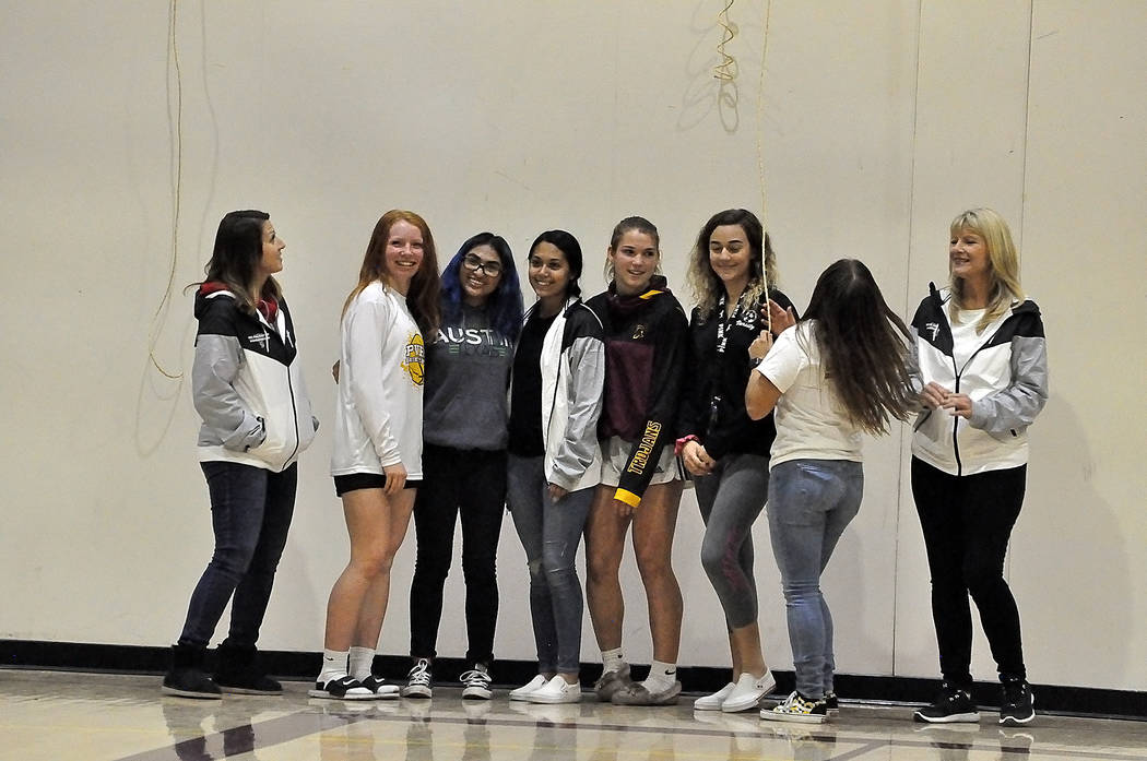 Horace Langford Jr./Pahrump Valley Times Girls soccer players and coach Julie Carrington, right ...