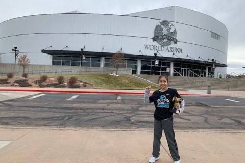 Special to the Pahrump Valley Times Pahrump's Mika Yoffee outside the Broadmoor World Arena in ...