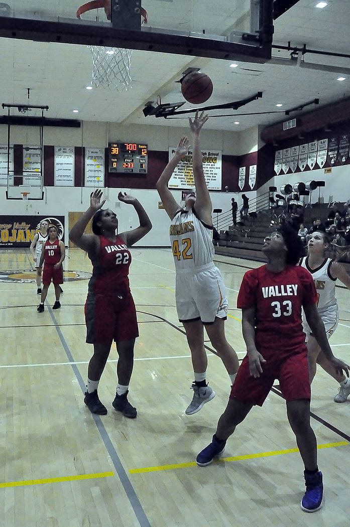 Horace Langford Jr./Pahrump Valley Times Kate Daffer recorded 10 points and a team-leading 6 re ...