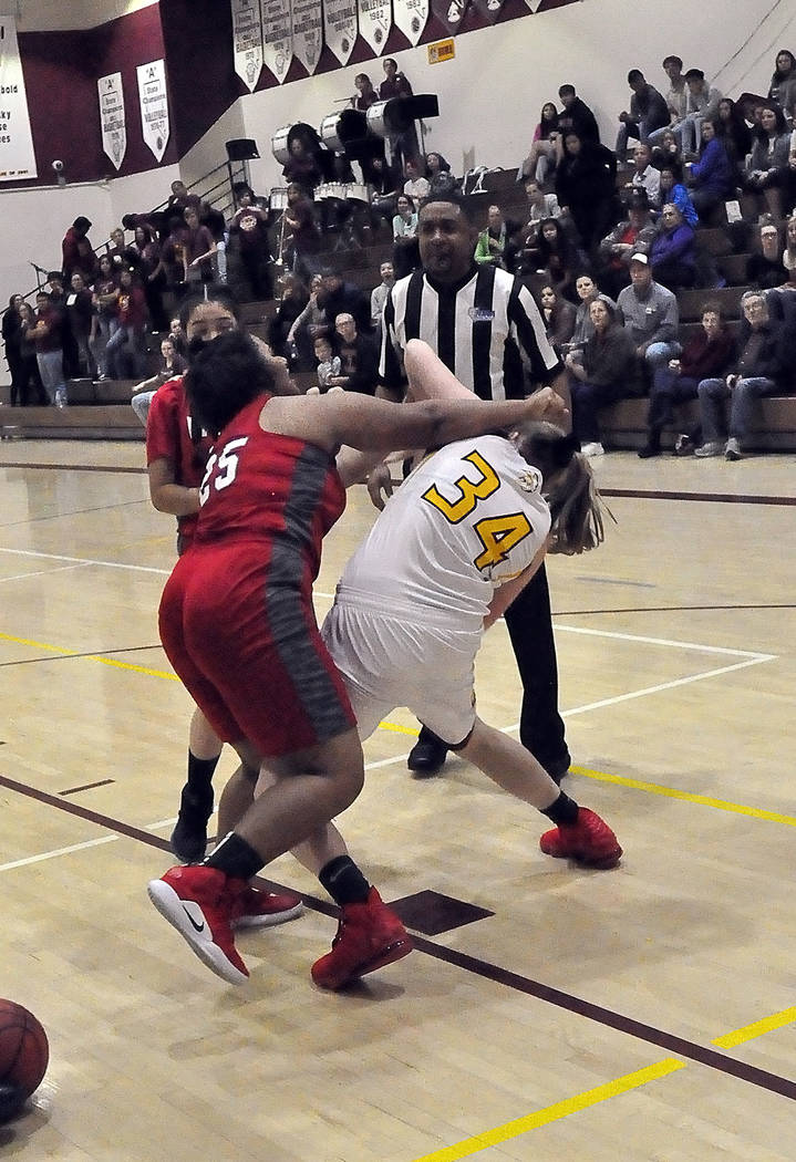 Horace Langford Jr./Pahrump Valley Times Valley sophomore Aja Norman takes a swing at Pahrump V ...