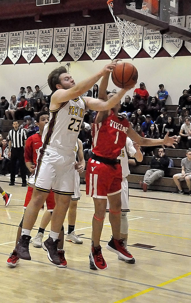 Horace Langford Jr./Pahrump Valley Times Senior Koby Lindberg grabs the ball from a Valley oppo ...