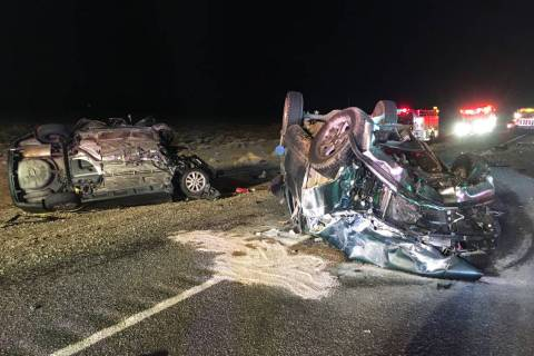 Nevada Highway Patrol Two vehicles crashed the night of Wednesday, Dec. 11, 2019, on U.S. Highw ...