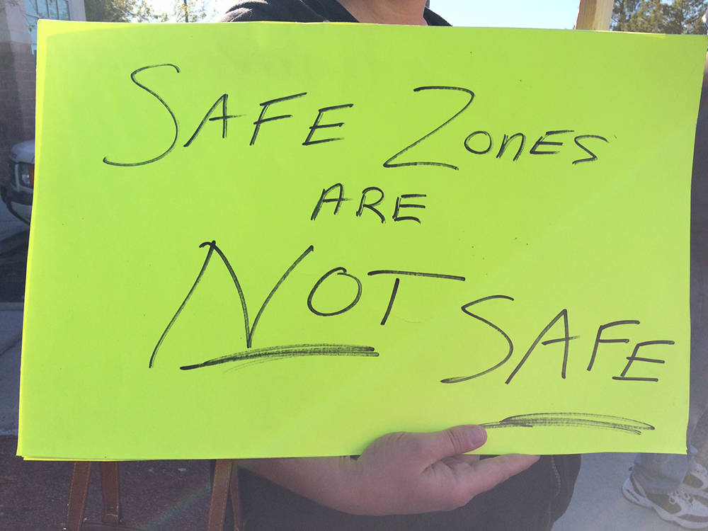 Robin Hebrock/Pahrump Valley Times One protester at the Second Amendment rally on Dec. 9 carrie ...