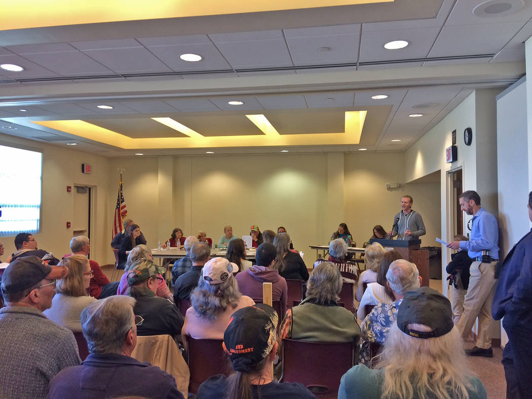 Robin Hebrock/Pahrump Valley Times The library board's meeting room was packed to capacity on M ...
