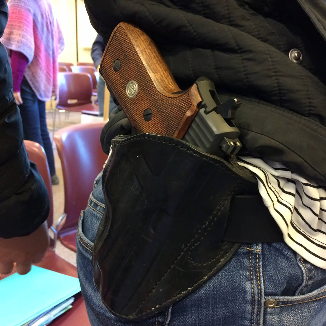 Robin Hebrock/Pahrump Valley Times Open-carry of a firearm was the subject of tense debate on M ...