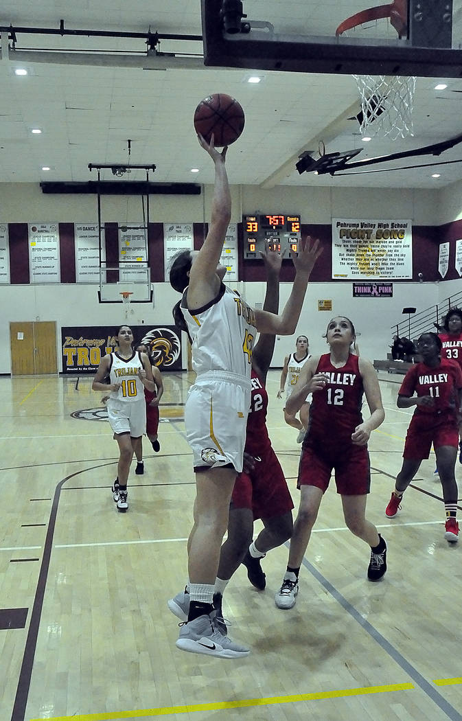 Horace Langford Jr./Pahrump Valley Times Junior Kate Daffer, shown going up for a shot against ...