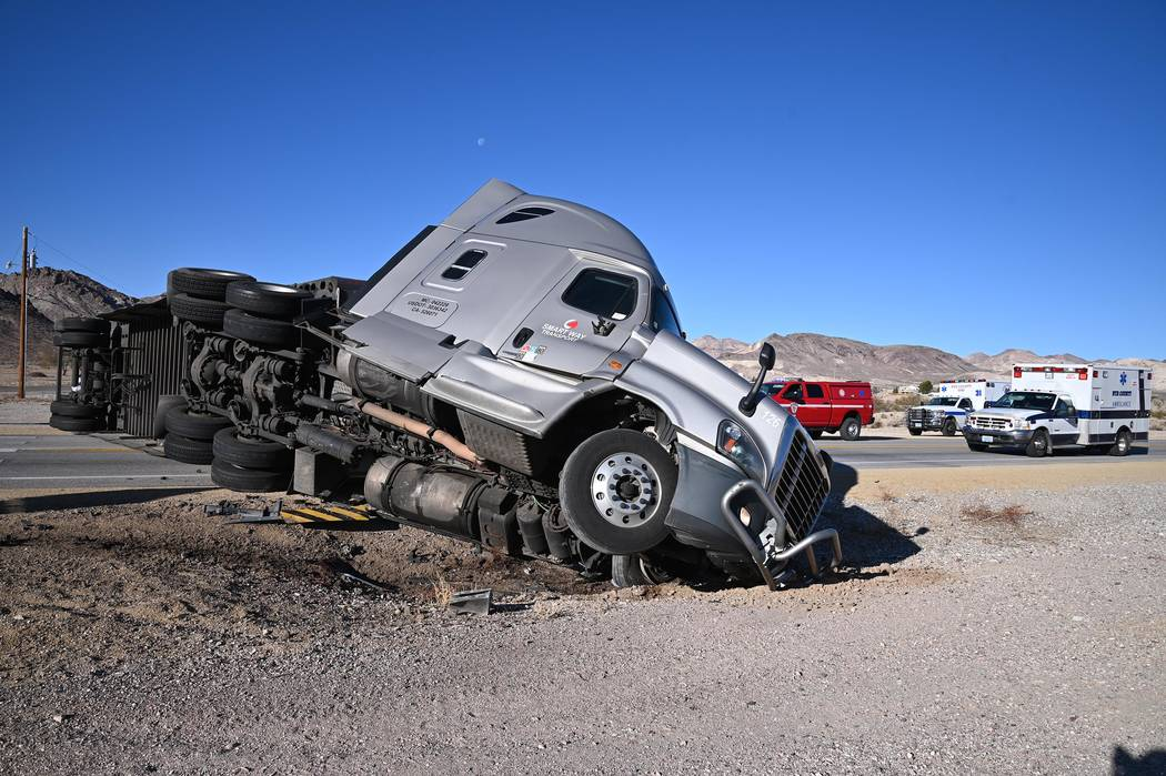 Richard Stephens/Special to the Pahrump Valley Times A look at the truck in Beatty. The crash w ...