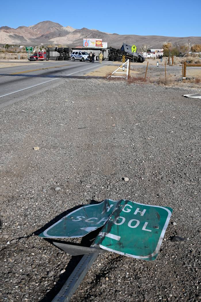 Richard Stephens/Special to the Pahrump Valley Times The crash took out a sign that directs peo ...