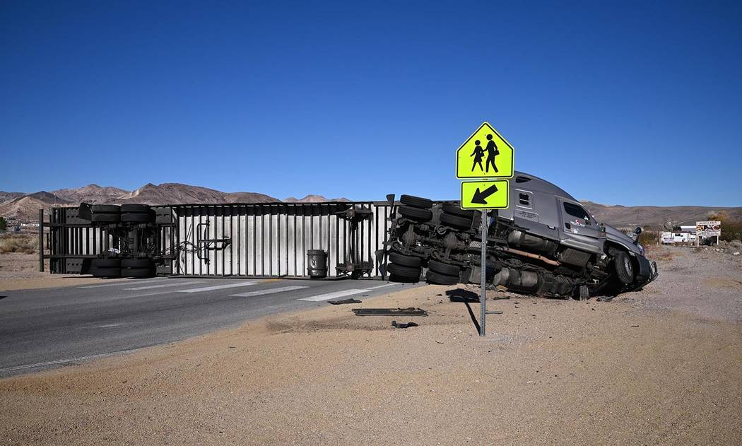Richard Stephens/Special to the Pahrump Valley Times A look at the overturned big-rig as shown ...
