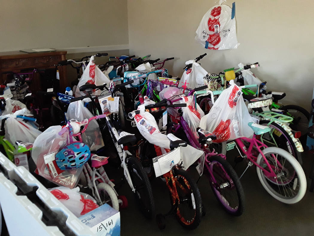 Selwyn Harris/Pahrump Valley Times The Pahrump Salvation Army has received dozens of bicycles, ...