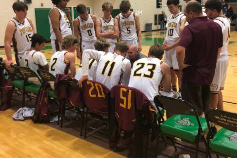 Tom Rysinski/Pahrump Valley Times Pahrump Valley High School boys basketball coach Dan Clift ta ...